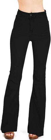 Cello Jeans Women's Juniors High Rise Stretchy Retro Flared Bell Bottoms - 8586