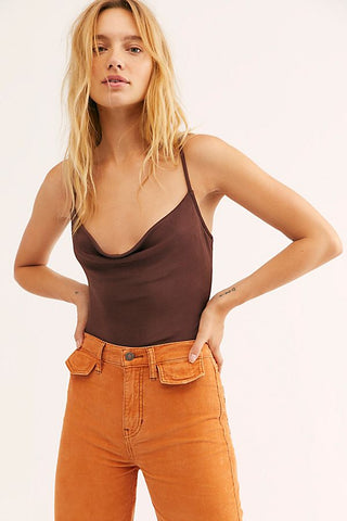 FREE PEOPLE COWL NECK  BROWN BODYSUIT -8586