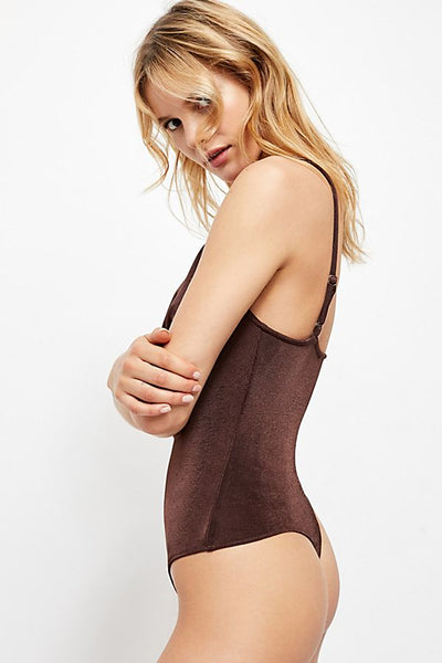 FREE PEOPLE COWLS IN THE CLUB THONG BODYSUIT - 8586