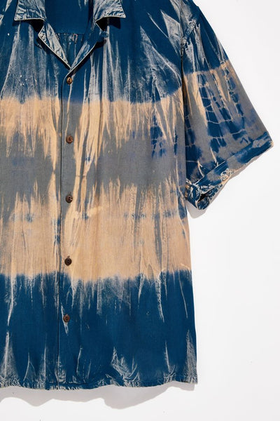 THE RAGA MAN TIE DYE S/S WOVEN BUTTON UP SHIRT - 8586