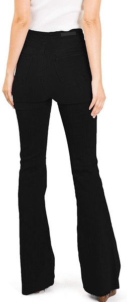 Cello Jeans Women's Juniors High Rise Stretchy Retro Flared Bell Bottoms BLACK DENIM