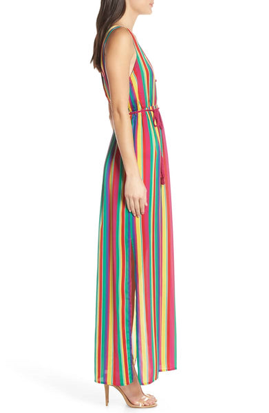 women's striped rainbow maxi dress - 8586