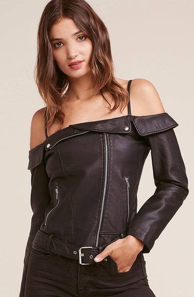 BB DAKOTA: SANDRA DEE FAUX LEATHER MOTO JACKET - 85 86 eightyfiveightysix