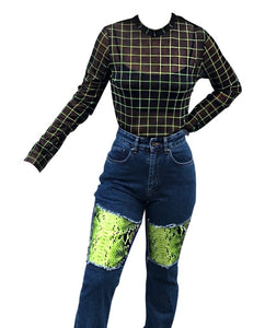 THE RAGGED PRIEST: HIGH WAISTED LIME SNAKESKIN MOM JEAN - 85 86 eightyfiveightysix