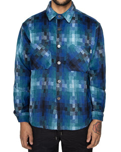 EPTM BLUE HEAVY FLANNEL BUTTON UP SHIRT - 8586