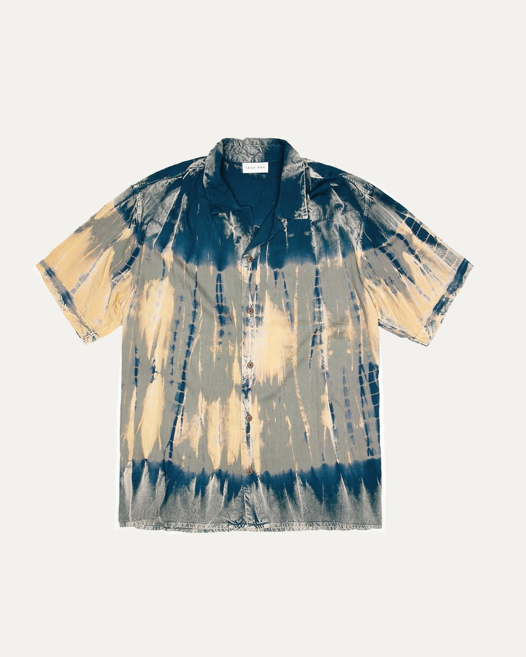 RAGAMAN SHORT SLEEVE TIE DYE BUTTON UP SHIRT - 8586