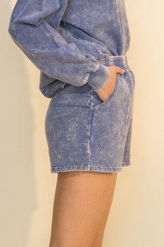WOMEN'S ACID WASHED INDIGO BLUE SWEAT SHORTS - 8586