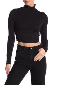 WOMENS BLACK LONG SLEEVE TURTLENECK CROP TOP - 8586