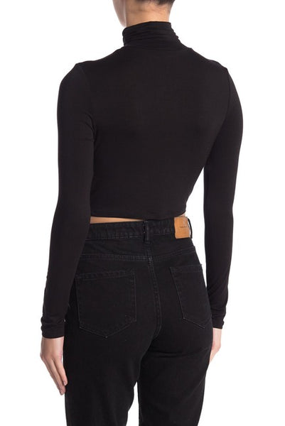 women's long sleeve roll neck long sleeve cropped shirt - 8586