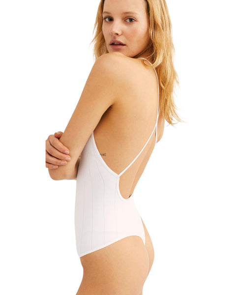FREE PEOPLE WHITE THONG BODYSUIT - 8586