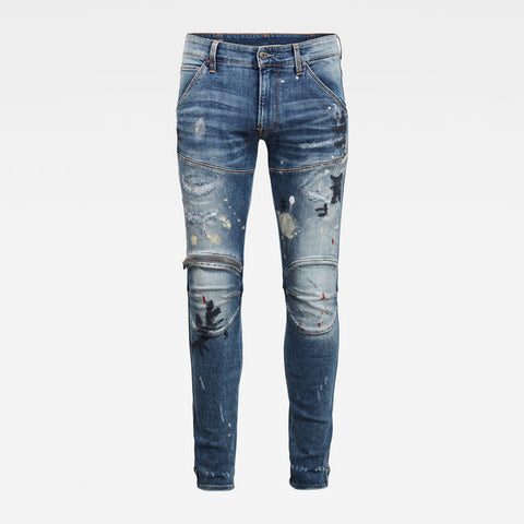 G-STAR RAW 5620 3D Zip knee Skinny paint splatter jeans - 8586
