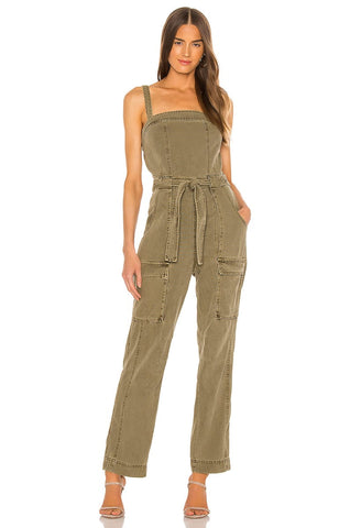 FREE PEOPLE GO WEST MOSS UTILITY JUMPSUIT - 8586