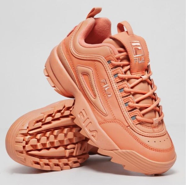 FILA DISRUPTOR II PREMIUM ORANGE LEATHER SNEAKER SHOES - 8586