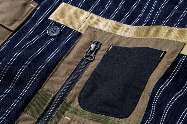 ELHAUS: NOMAD COVERALL STRIPED JACKET