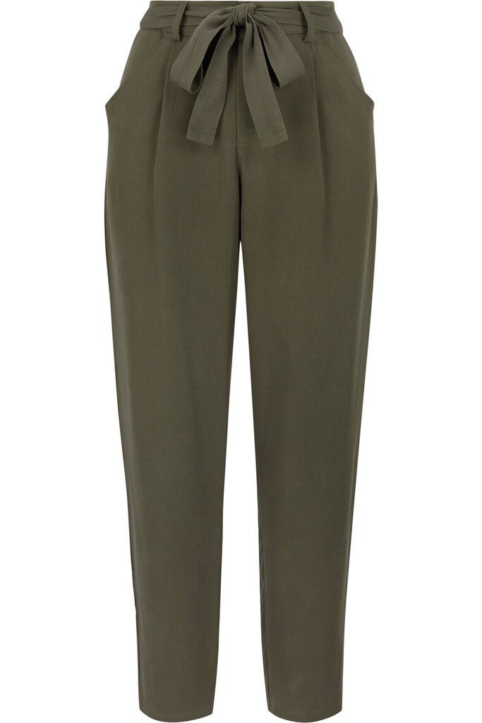 BISHOP + YOUNG: OLIVE GREEN PAPERBAG HIGH RISE PANTS - 85 86 eightyfiveightysix