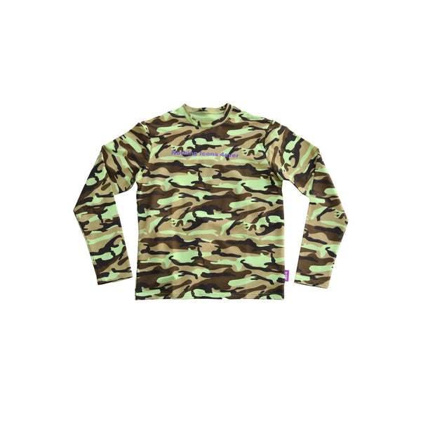mens lime green camo tee - 8586