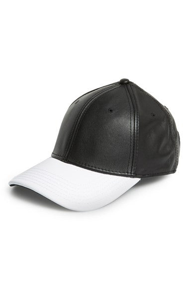 GENTS : BLACK AND WHITE LEATHER HAT - 85 86 eightyfiveightysix