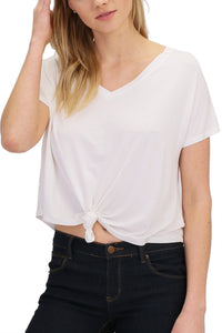 BASICS: V-NECK TIE KNOT CROP TOP - 85 86 eightyfiveightysix