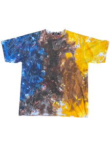 PREMIERE APPAREL UNISEX SHORT SLEEVE TIE DYE YELLOW BROWN BLUE T-Shirt - 8586