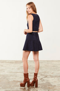 JACK BY BB DAKOTA: ABRAMS NAVY SUEDE MINI SKIRT - 85 86 eightyfiveightysix