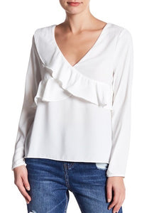 Boho: White Ruffle V Neck Top - 85 86 eightyfiveightysix
