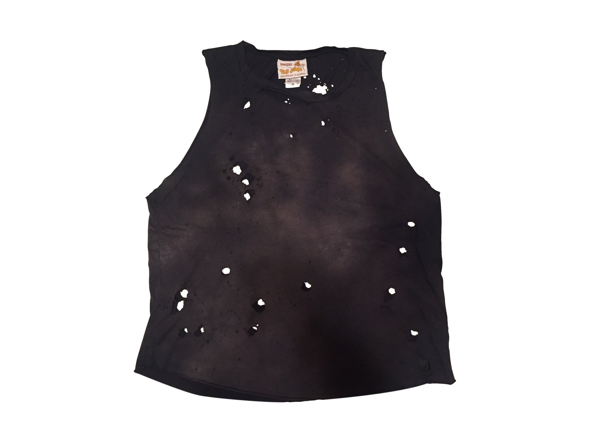 US RAGS :  DESTROYED VINTAGE BLACK TANK TOP - 85 86 eightyfiveightysix
