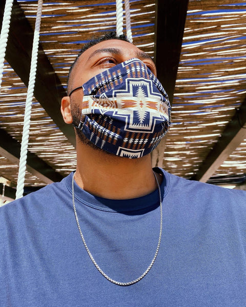 pendleton mens navy blue tribal face mask - 8586