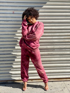 womens red tie dye oversized sweatpants - 8586