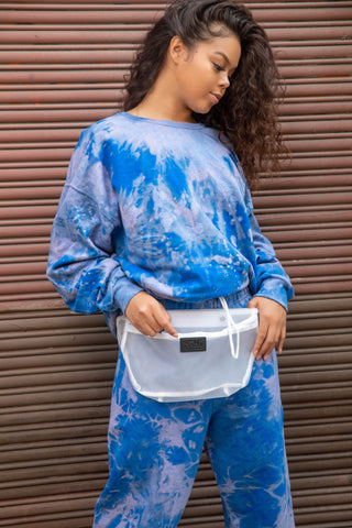 blue tie dye vintage wash womens sweatshirt - 8586
