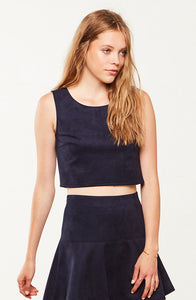 JACK BY BB DAKOTA: DELACOUR NAVY SUEDE CROP TOP - 85 86 eightyfiveightysix