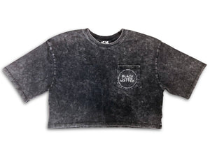 black lives matter acid wash crop tee - 8586