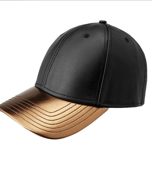 GENTS : BLACK AND GOLD LEATHER HAT - 85 86 eightyfiveightysix