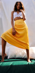 8586: YELLOW SATIN MIDI SKIRT