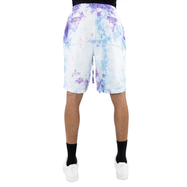 eptm mens tie dye light blue and purple shorts - 8586