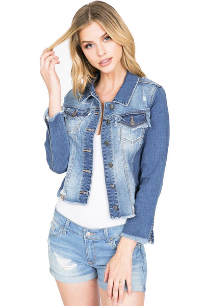 FRAYED DENIM JACKET - 8586