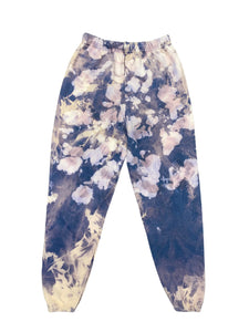 WOMENS TIE DYE BAGGY FIT SWEATS INDIGO CREAM - 8586
