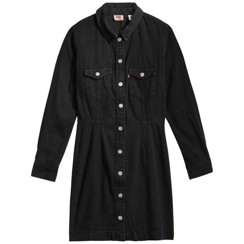 LEVIS PREMIUM WOMEN'S ELLIE BLACK DENIM DRESS - 8586