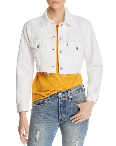 LEVIS WHITE CROPPED JACKET - 8586