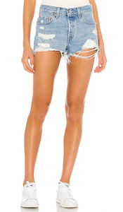 LEVIS PREMIUM LUXOR LIFT RIPPED DENIM SHORTS - 8586