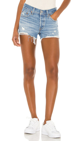 levis premium luxor light destructed denim shorts - 8586