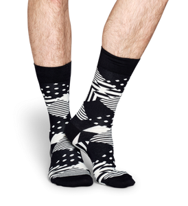 HAPPY SOCKS : MULTI ARGYLE BLACK WHITE SOCK - 85 86 eightyfiveightysix