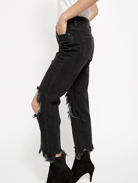 Free People womens black Maggie denim - 8586