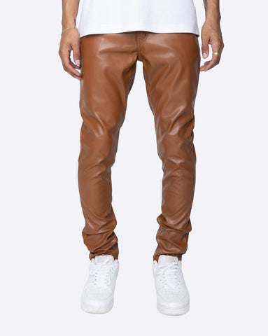 EPTM PU FAUX LEATHER BROWN PANTS - 8586