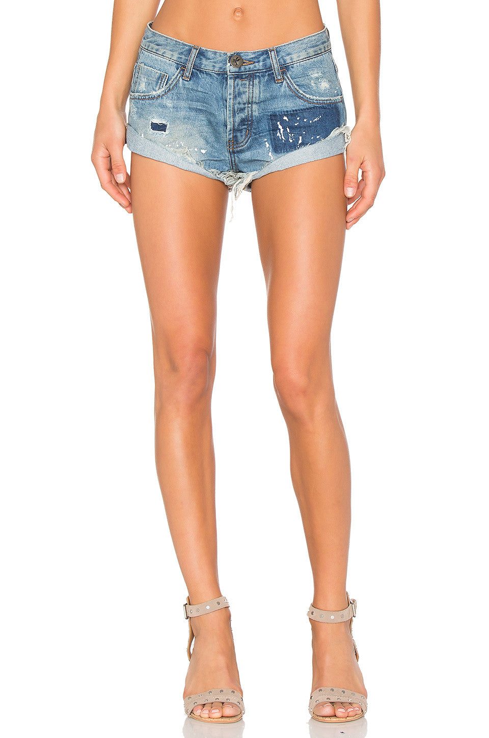 ONE TEASPOON : JOHNNIE BLUE BANDITS DISTRESSED DENIM SHORTS - 85 86 eightyfiveightysix