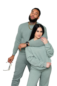 his and hers unisex sweatsuit pistachio mint green - 8586