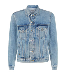 AGOLDE: PRESTON DISTRESSED DENIM JACKET - 85 86 eightyfiveightysix