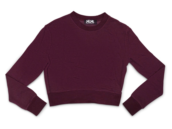 women's Burgundy long sleeve crop sweatshirt - 8586