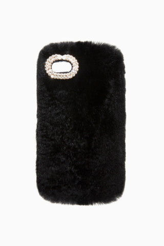 BLACK FUR IPHONE CASE