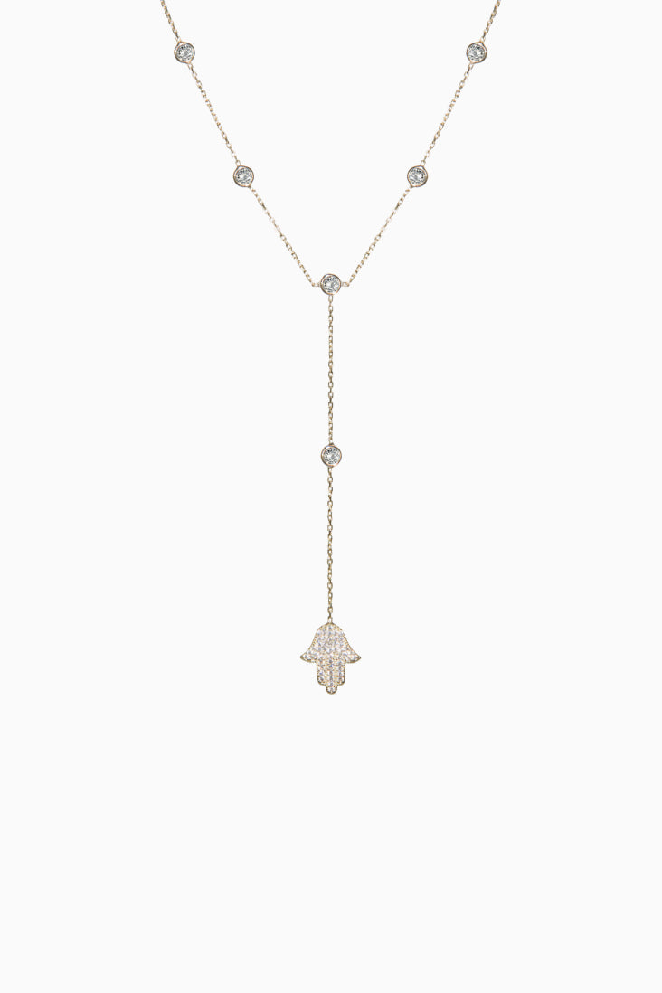 HAMSA CRYSTAL DROP NECKLACE