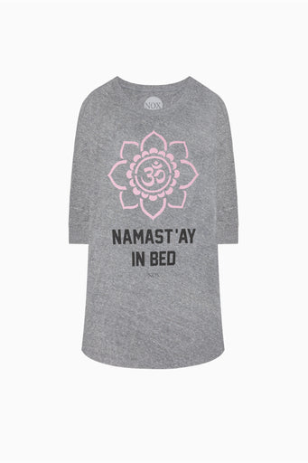 NAMAST'AY IN BED, AGAIN SLEEP TEE - HEATHER GREY